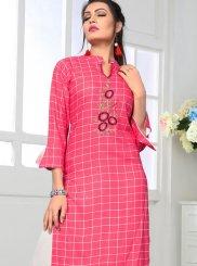 Printed Rayon Pink Casual Kurti