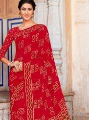 Printed Red Casual Saree