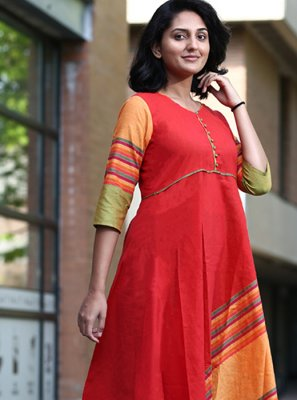 Printed Red Cotton Party Wear Kurti