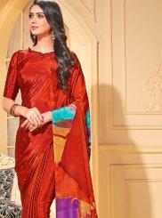 Printed Red Faux Crepe Trendy Saree