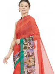 Printed Red Faux Georgette Casual Saree