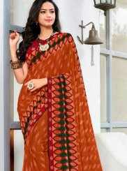 Printed Red Trendy Saree