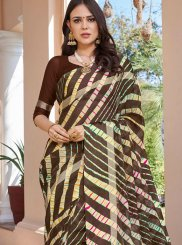 Printed Saree Abstract Print Art Silk in Brown