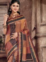 Printed Saree Abstract Print Art Silk in Multi Colour