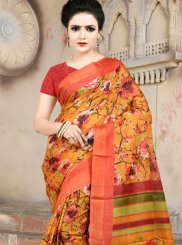 Printed Saree Abstract Print Cotton in Multi Colour