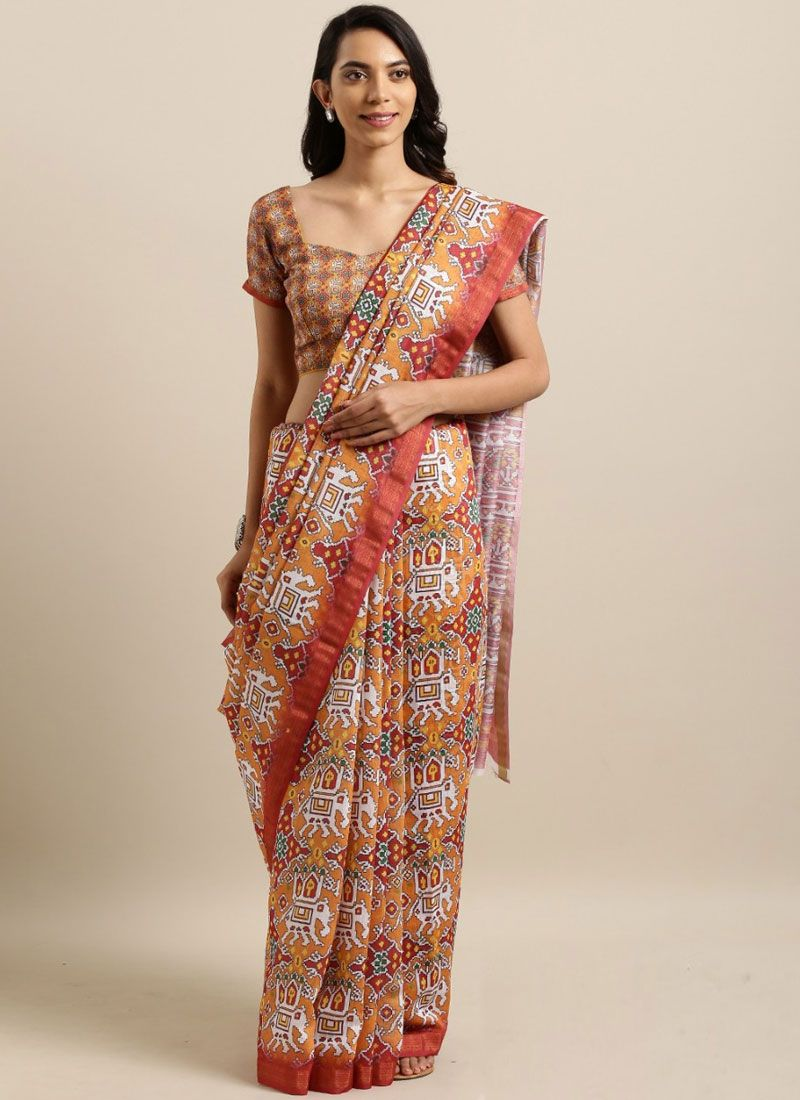 Printed Saree Abstract Print Cotton Silk in Multi Colour