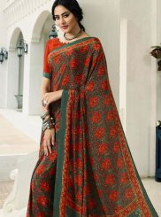 Printed Saree Abstract Print Crepe Silk in Multi Colour