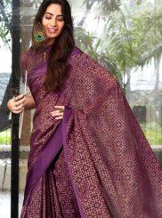 Printed Saree Abstract Print Fancy Fabric in Purple