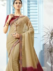 Printed Saree Abstract Print Faux Chiffon in Beige