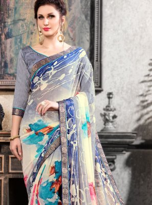 Printed Saree Abstract Print Faux Chiffon in Multi Colour