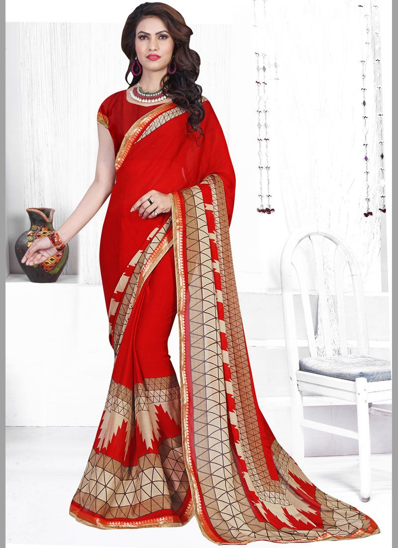 Printed Saree Abstract Print Faux Chiffon in Red