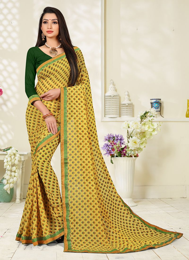 Printed Saree Abstract Print Faux Georgette in Yellow