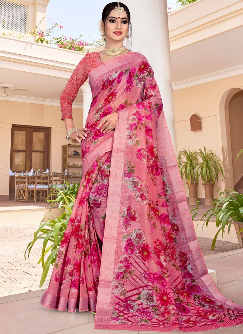 Printed Saree Abstract Print Linen in Hot Pink