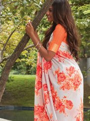 Printed Saree Abstract Print Linen in Multi Colour