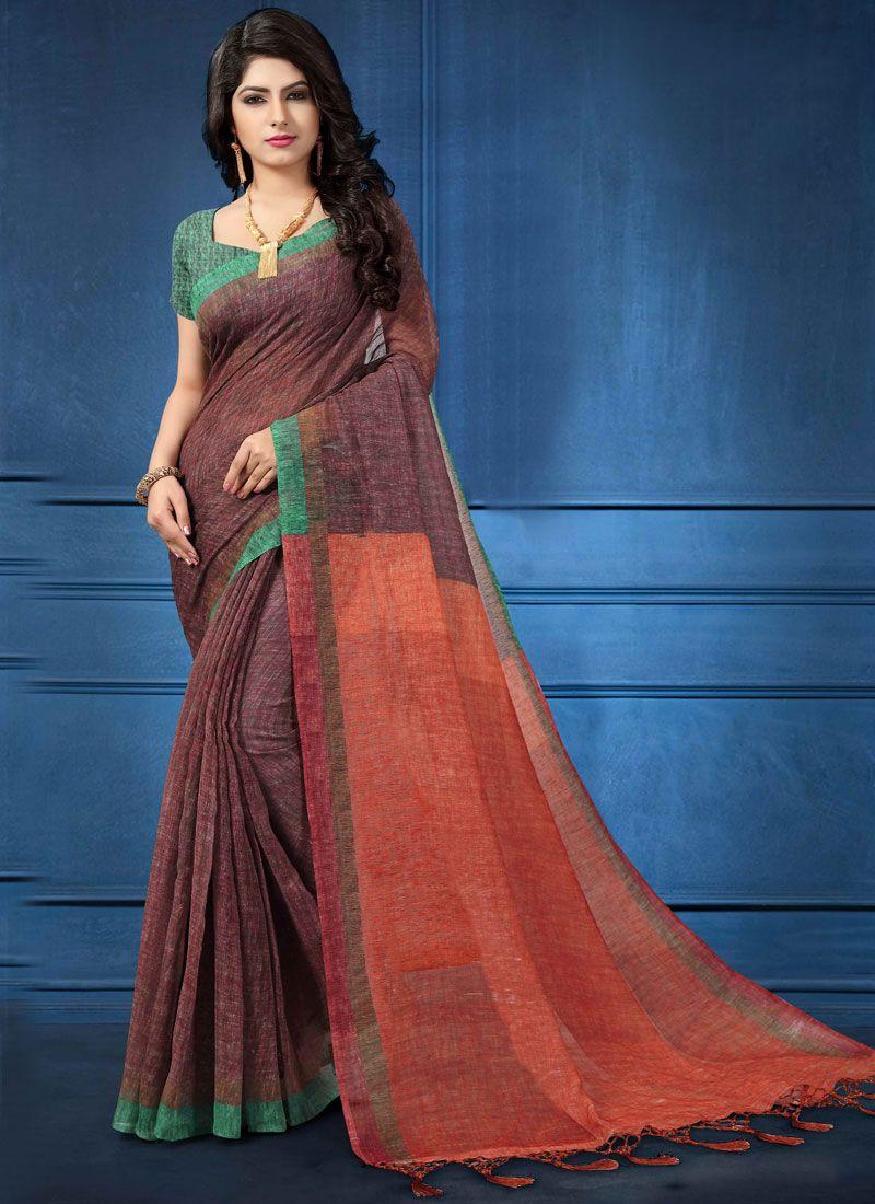 4aecb2961e Shop Online Printed Saree Digital Print Linen in Multi Colour : 105368 -