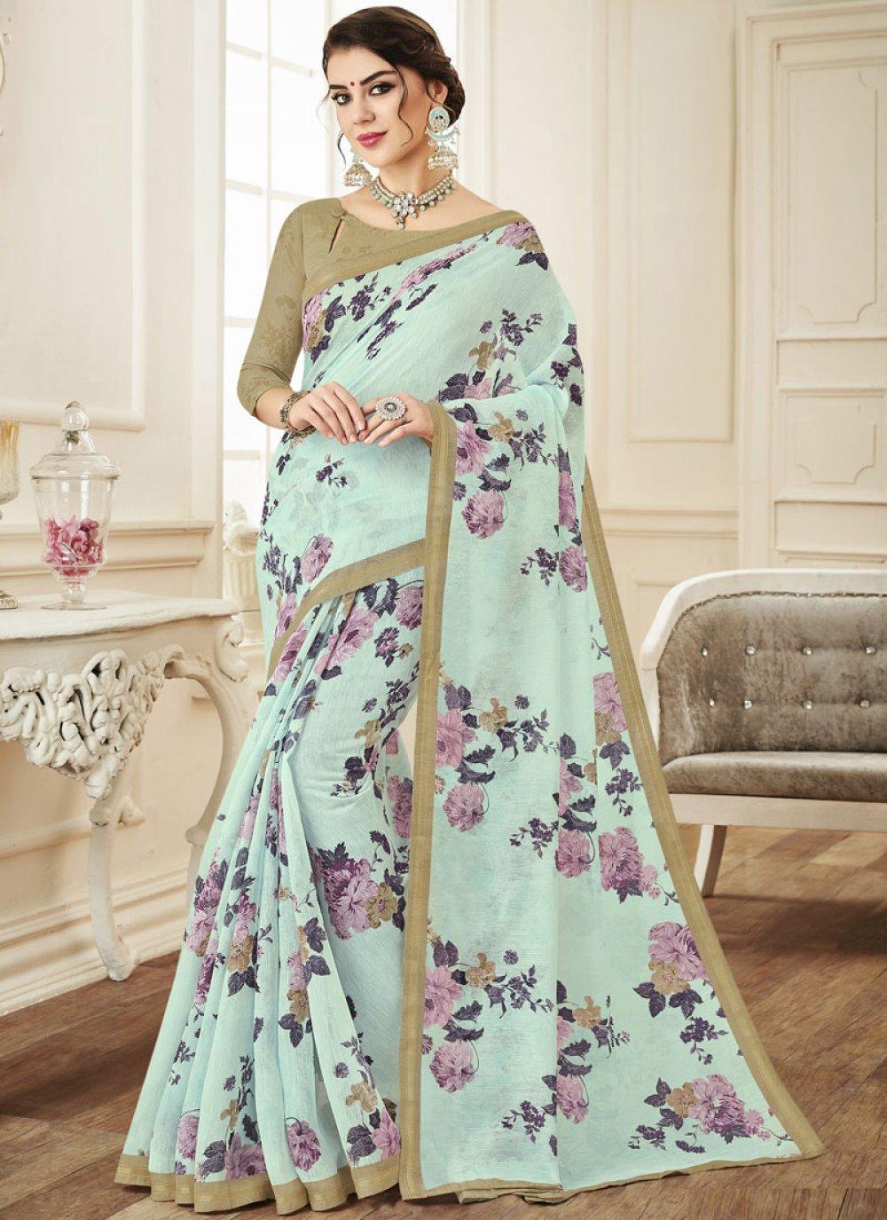 Printed Saree Print Linen in Aqua Blue