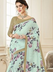 Printed Saree Print Linen in Aqua Blue