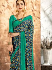 Printed Saree Printed Georgette in Teal