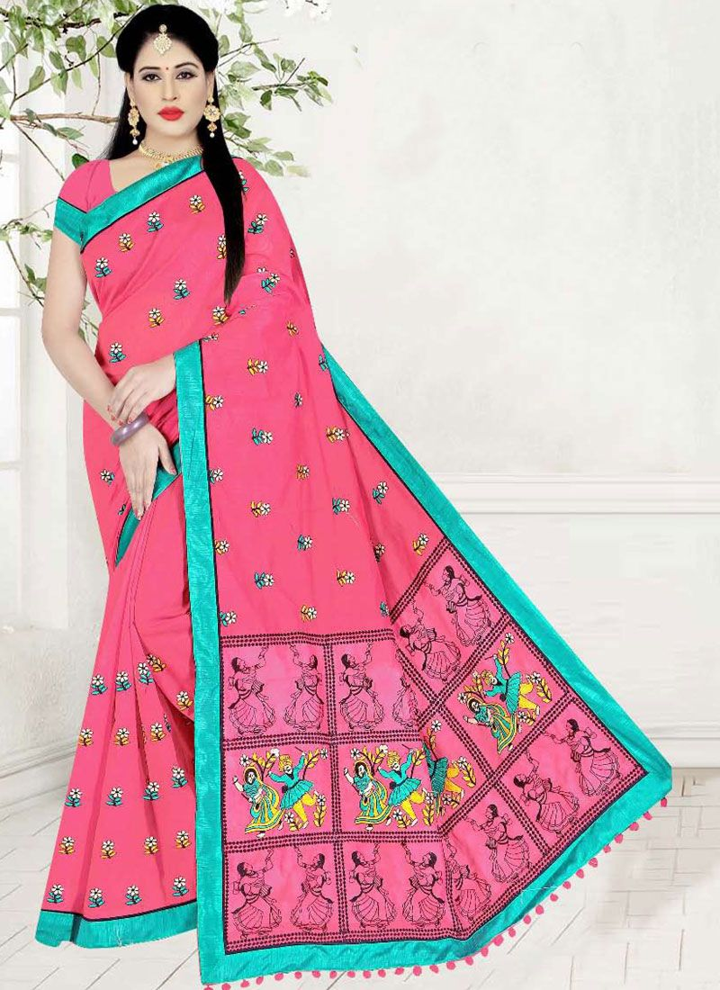 Printed Saree Printed Poly Cotton in Pink