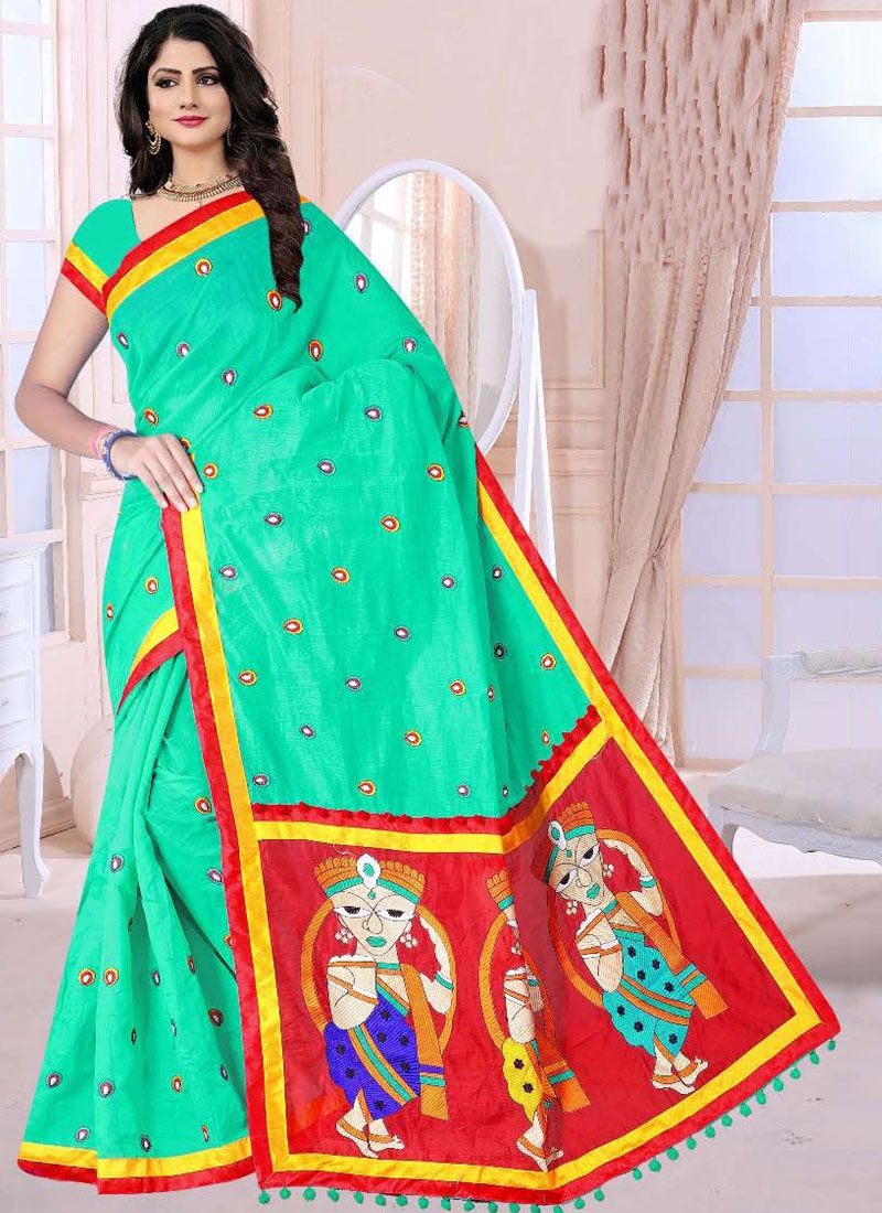 Printed Saree Printed Poly Cotton in Turquoise