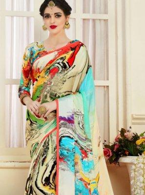 Printed Satin Casual Saree in Multi Colour