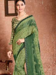 Printed Sea Green Faux Chiffon Classic Designer Saree