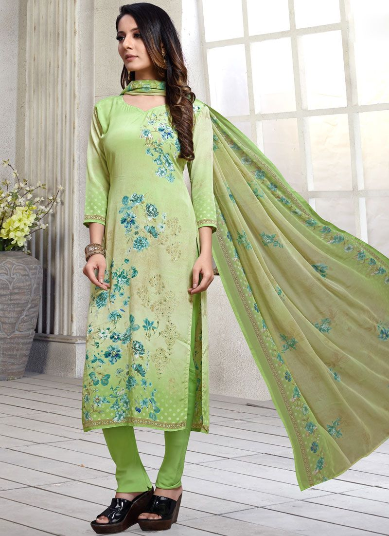 Printed Sea Green Pakistani Suit