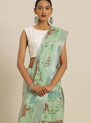 Printed Silk Casual Saree in Sea Green