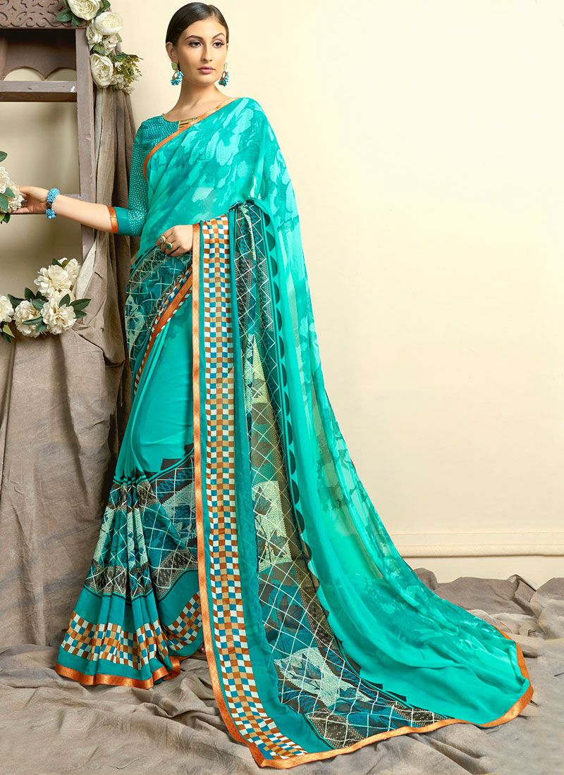Printed Turquoise Faux Georgette Casual Saree