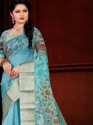 Printed Turquoise Traditional Saree