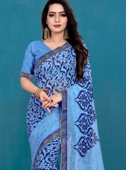 Printed Weight Less Casual Saree in Aqua Blue