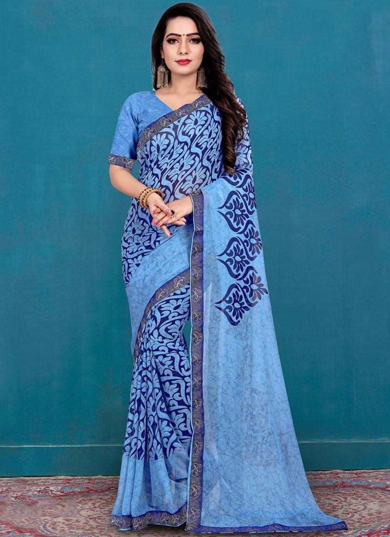 Printed Weight Less Casual Saree in Aqua Blue