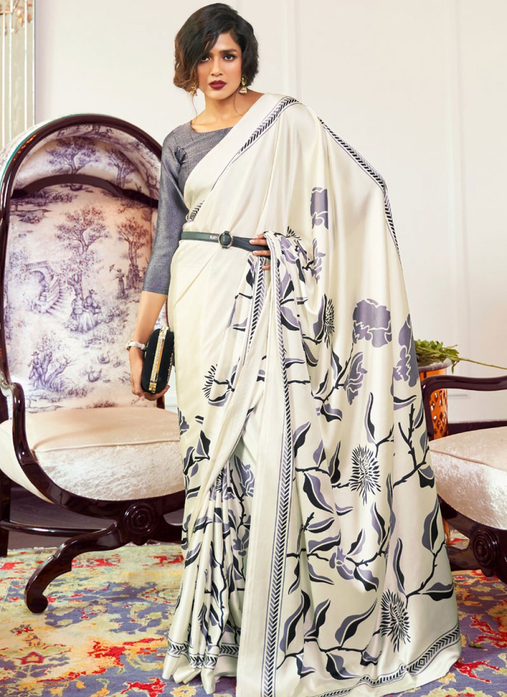 Printed White Casual Saree