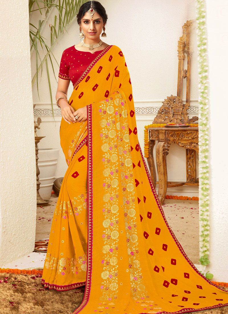Printed Yellow Faux Chiffon Traditional Saree