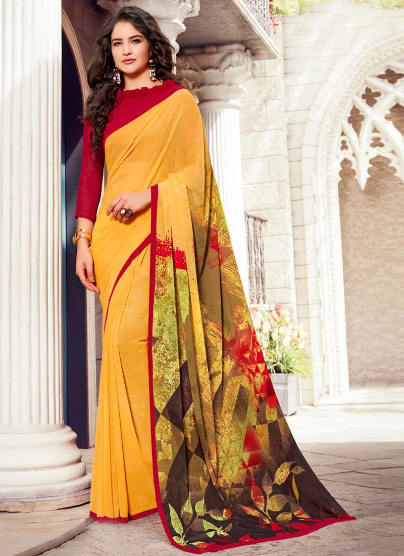 Printed Yellow Georgette Casual Saree