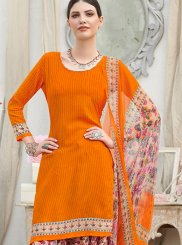 Punjabi Suit Abstract Print Faux Crepe in Orange
