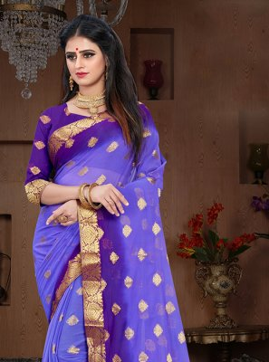 Pure Chiffon Blue and Violet Weaving Designer Traditional Saree