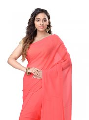 Pure Chiffon Peach Casual Saree