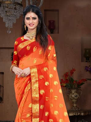 Pure Chiffon Weaving Designer Traditional Saree in Orange and Red