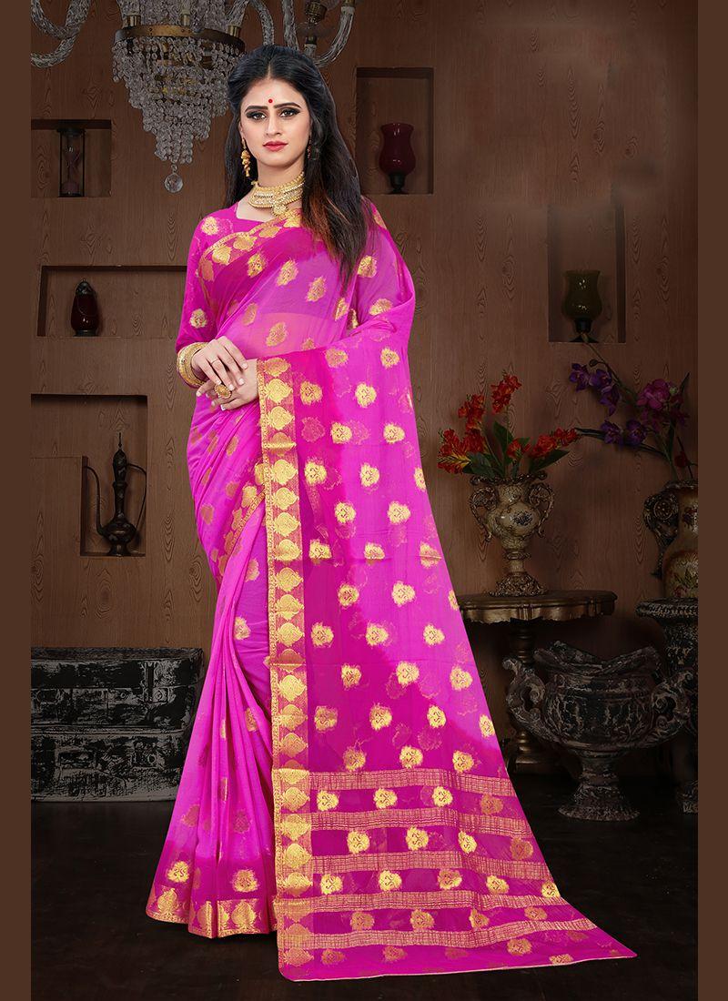 Pure Chiffon Weaving Magenta and Pink Designer Traditional Saree