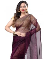 Pure Chiffon Weaving Wine Casual Saree