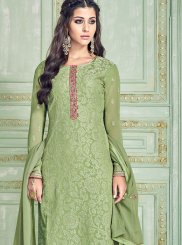 Pure Georgette Embroidered Green Pant Style Suit