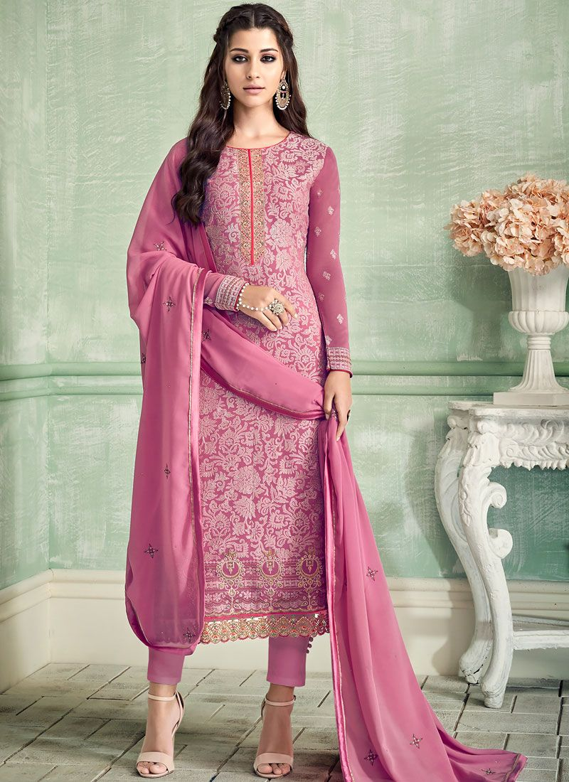 Pure Georgette Hot Pink Embroidered Pant Style Suit