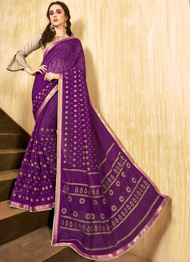 Purple Abstract Print Printed Saree
