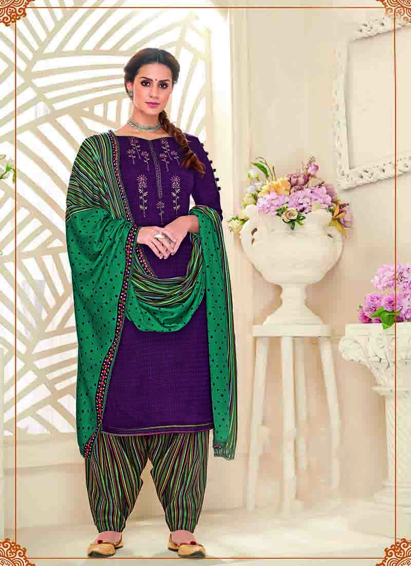 Purple and Green Wedding Designer Patiala Salwar Kameez
