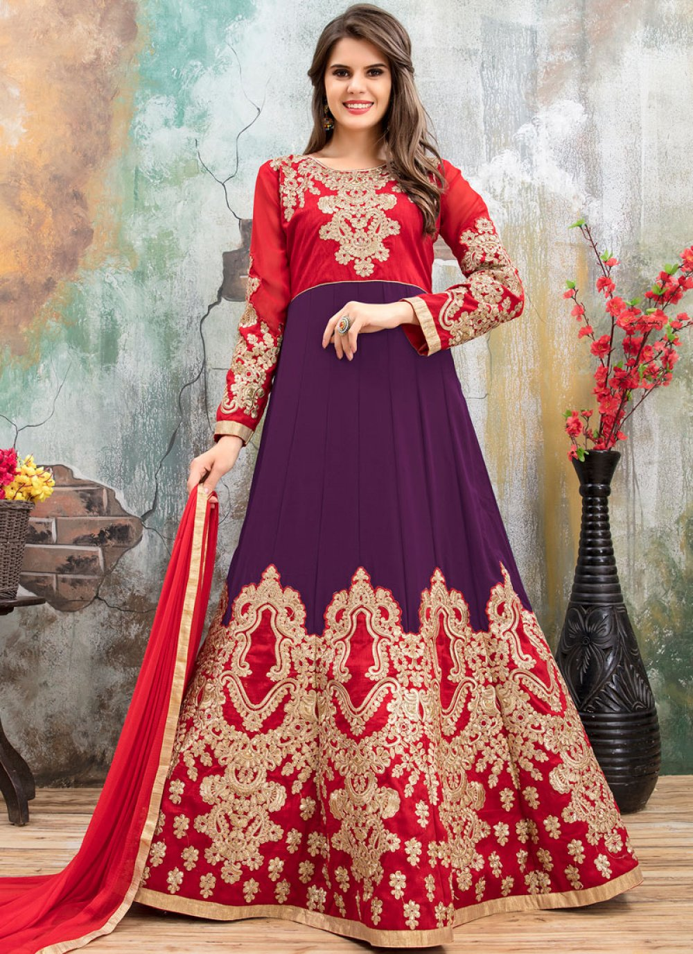 Purple and Red Floor Length Anarkali Suit