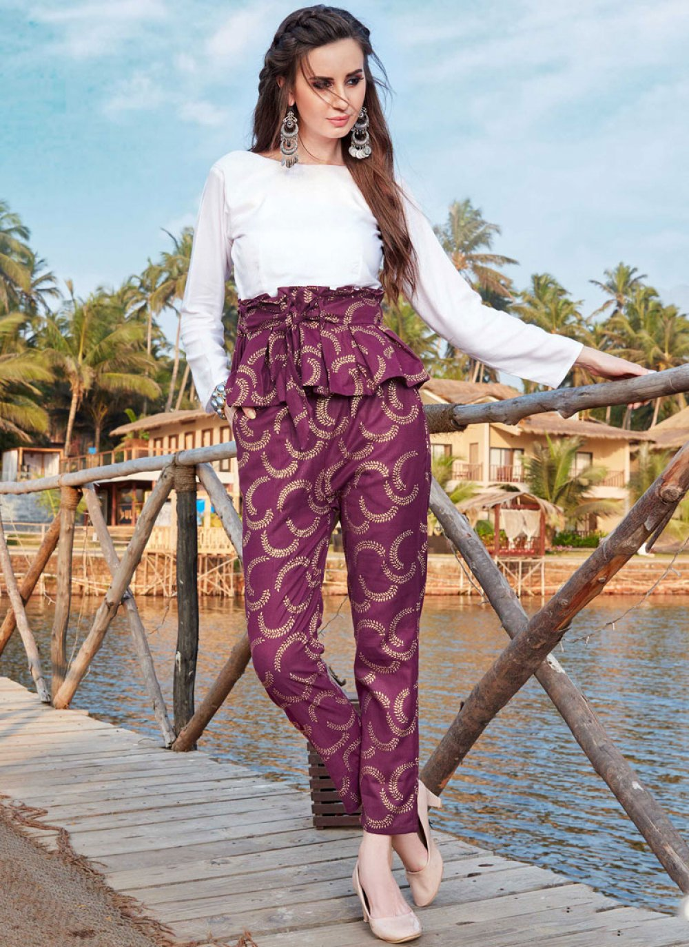 Purple and White Color Designer Kurti