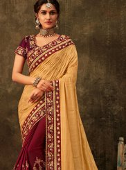 Purple and Yellow Wedding Half N Half Trendy Saree