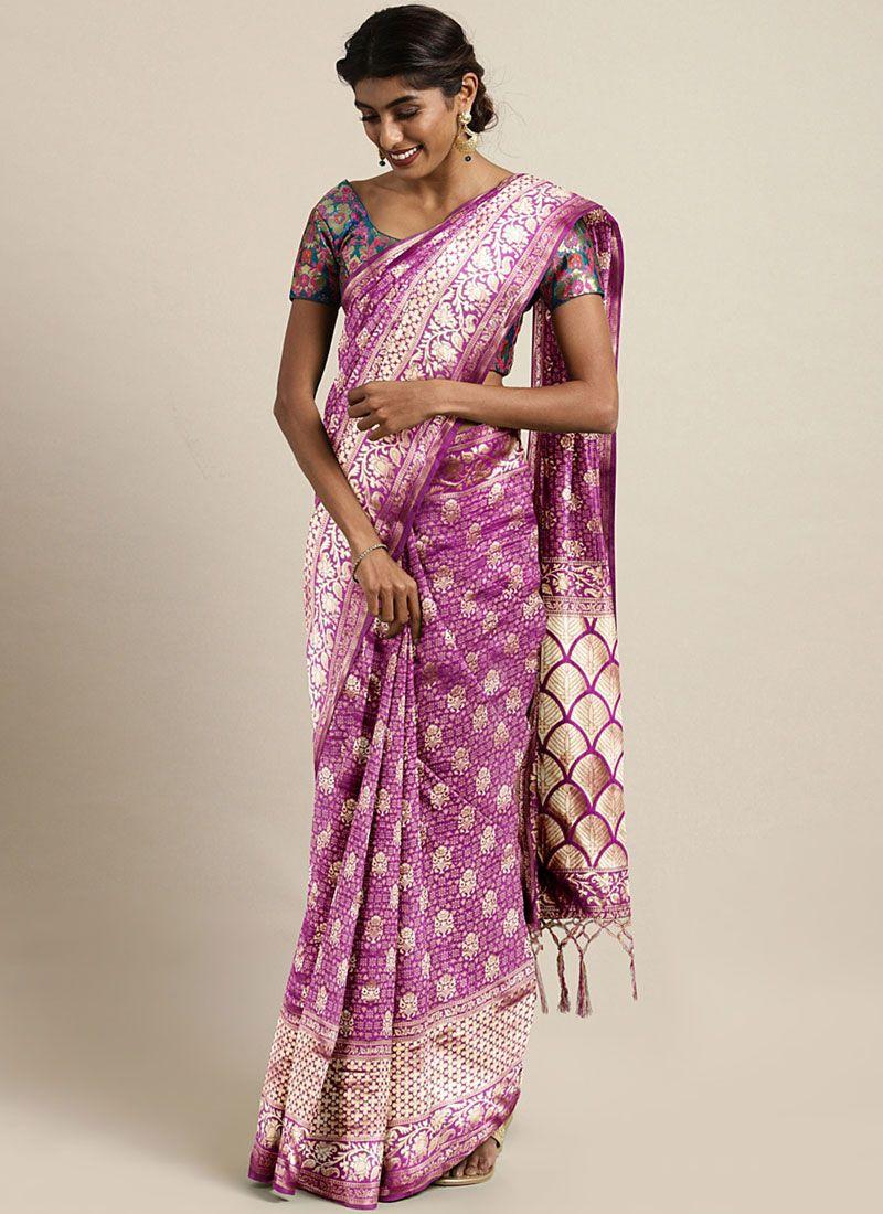 Purple Art Silk Casual Classic Saree
