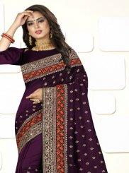 Purple Art Silk Ceremonial Designer Traditional Saree